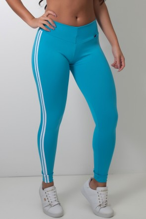 Calça Legging com Listras (Azul Celeste / Branco)