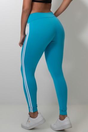 Calça Legging com Listras (Azul Celeste / Branco) | Ref: KS-F17-003