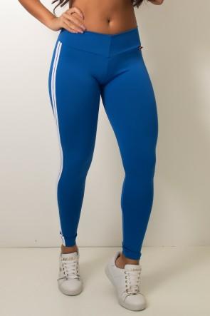 Calça Legging com Listras (Azul Royal / Branco) | Ref: KS-F17-004