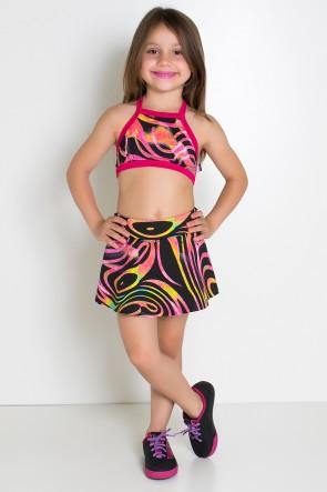 Conjunto Infantil Top + Short Saia (Onda Rosa e Preta com Fluor / Rosa Pink) | Ref: KS-F986-004