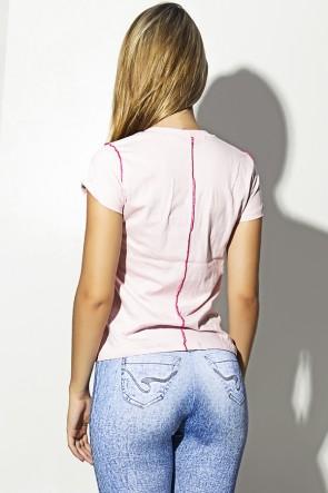 Camiseta de Malha Rosa com Ponto de Cobertura | Ref: F1162