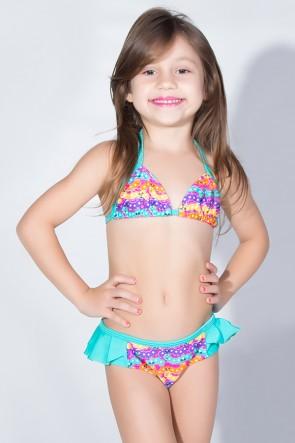 Biquini Infantil Estampado com Babado Liso (Centopeias Coloridas / Verde Esmerada) | Ref: DVBQ31-004