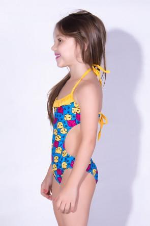 Maiô Infantil de Amarrar Estampado com Babado (Azul com Gatinhos / Amarelo) | Ref: DVBQ32-002
