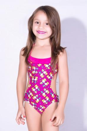 Maiô Infantil de Amarrar Estampado com Babado (Rosa com Ratinhos Amarelos / Rosa Pink) | Ref: DVBQ32-003