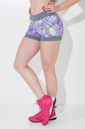 Shortinho Nicole Estampado Com Detalhe Mescla (Riscos Coloridos com Traço Preto / Mescla) | Ref: KS-F345-004