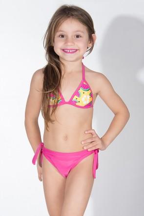 Biquini Infantil com Bojo Calcinha Lisa (Amarelo com Melancia / Rosa Pink) | Ref: DVBQ37-001