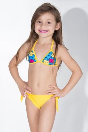 Biquini Infantil com Bojo Calcinha Lisa (Azul com Gatinhos / Amarelo) | Ref: DVBQ37-002