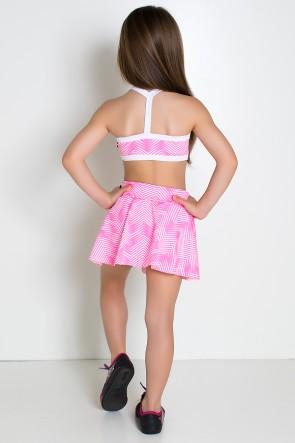 Conjunto Infantil Top + Short Saia (Setas Brancas com Rosa Fluor / Branco) | Ref: KS-F986-002