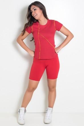 Camiseta de Malha Vermelha com Ponto de Cobertura