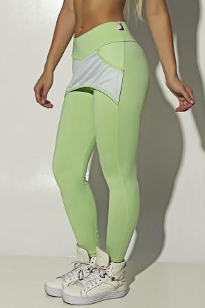 Calça Katherine com Bolso em Detalhe Dry Fit (Verde Claro / Branco) | Ref:F690-008