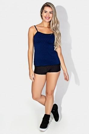 Conjunto Camiseta e Shortinho Tecido Bolha (Azul Bic) | Ref: KS-F474-005