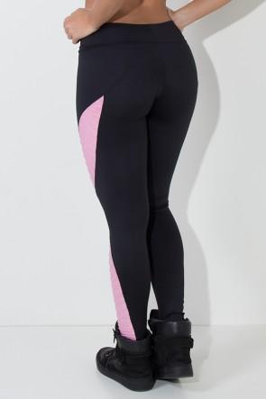 Calça Leona Lisa com Detalhe Tecido Bolha (Preto / Rosa) | Ref: KS-F475-001