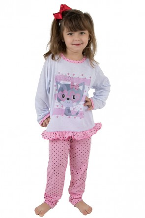Pijama longo de Malha Infantil 185 Rosa com Poá | Ref: CEZ-PA185-001