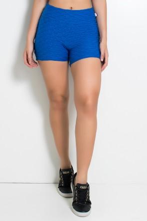 Short Tecido Bolha Com Babado (Azul Royal) |Ref: KS-F354-002