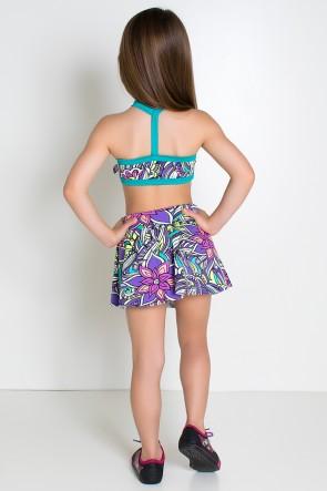 Conjunto Infantil Top + Short Saia (Tribal Colorido com Flor Roxa / Verde Esmeralda) | Ref: KS-F986-001