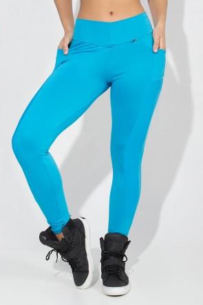 Calça Paula Lisa com Detalhe Dry Fit e Bolso (Azul Celeste) | Ref: KS-F584-007