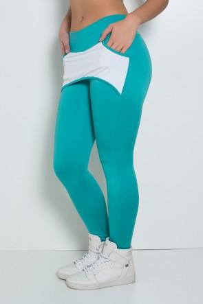 Calça Katherine com Bolso em Detalhe Dry Fit (Verde Esmeralda / Branco) | Ref: KS-F690-004