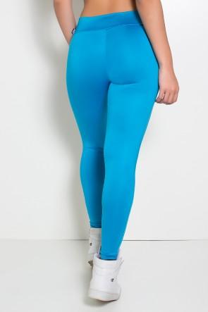 Calça Katherine com Bolso em Detalhe Dry Fit (Azul Celeste / Branco) | Ref:F690-005