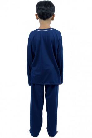 Pijama de Malha Infantil Manga Longa Cores Lisas 078 | P73