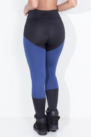 Calça Duas Cores Rasgada (Preto / Azul Marinho) | Ref:F773-001
