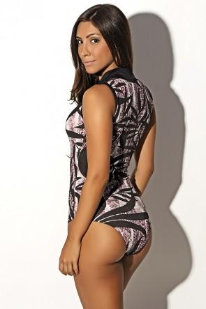 Body Joana Estampado com Detalhe Liso | Ref: F634
