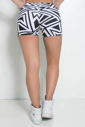 Shortinho  Estampado (Branco com Retângulo Preto) | Ref: KS-F56-038
