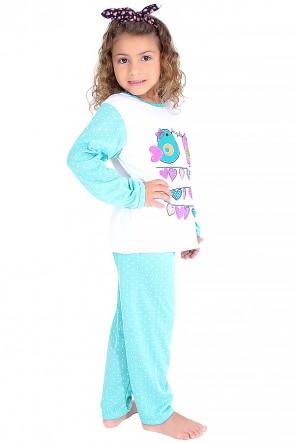 Pijama longo infantil 108 (Verde piscina com poá branco)