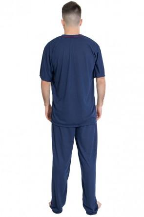 Pijama Mas. Manga Curta 091 (Azul marinho) | Ref: CEZ-PA091-001