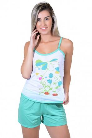 Babydoll Feminino 023 (Verde com flores)