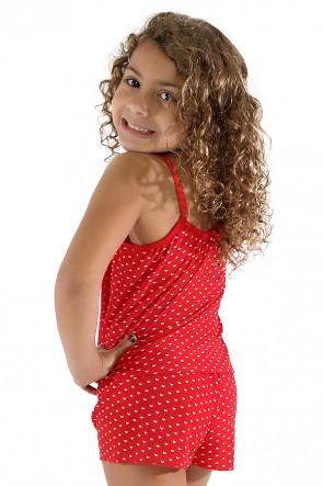 Babydoll de Liganete Infantil 020 (Vermelho com coraçõezinhos) CEZ-CZ020-004