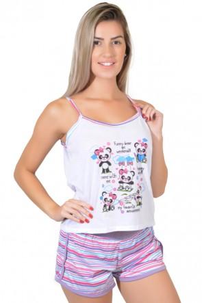 Babydoll Feminino 054 (Lilás com pandas)