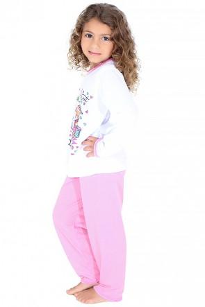 Pijama longo infantil 076 (Rosa com ursinho) CEZ-PA076-001