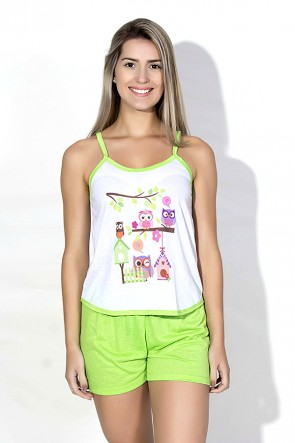 Babydoll Feminino 023 (verde com corujas)