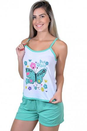 Babydoll Feminino 023 (Verde com borboleta)