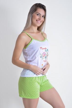 Babydoll Feminino 267 (Verde com corujas)