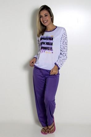 Pijama Feminino Longo 081 (Roxo com borboleta)