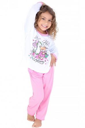 Pijama longo infantil 076 (Rosa com ursinho)