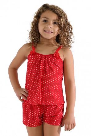 Babydoll de Liganete Infantil 020 (Vermelho com coraçõezinhos)