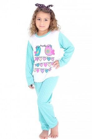 Pijama longo infantil 108 (Azul com poá branco)
