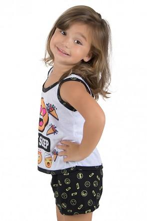 Baby-doll de Malha infantil 204 (Preto) | Ref.: CEZ-PA204-004