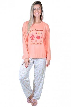 Pijama feminino longo 248 (Salmão com passarinho)