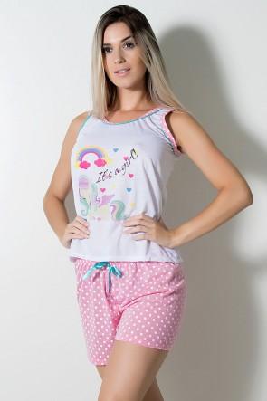 Babydoll de Malha 173 (Rosa Unicórnio) | Ref: CEZ-PA173-001