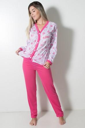 Pijama feminino longo 182 (Pink) | Ref: CEZ-PA182-010
