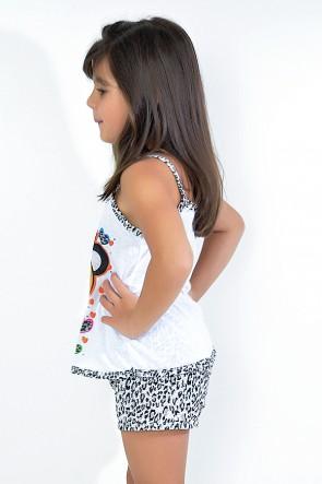 Babydoll Infantil 201 (Preto com ursinho)