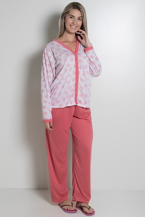 Pijama feminino longo 182 (Goiaba)  CEZ-PA182-007