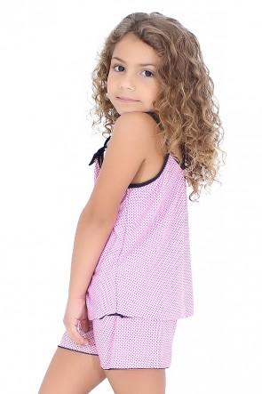 Babydoll de Liganete Infantil 020 (Rosa com poá preto)
