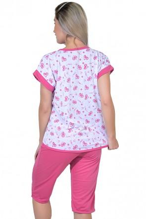 Pijama Pescador 032 (Pink - Estampa de Corações)