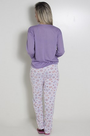 Pijama feminino longo 248 (Lilás com corujinhas)