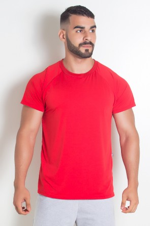 Camiseta Masculina Lisa de Microlight (Vermelho) | Ref: KS-H08-001