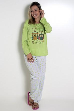 Pijama feminino longo 248 (Verde claro com corujas)